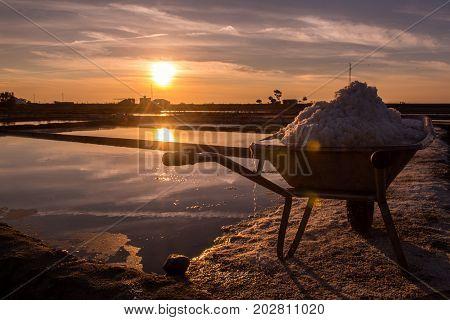 Aveiro saltworks at a hot summer day end