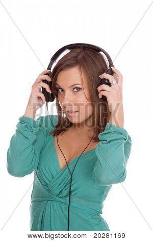 Frau und Musik over white background