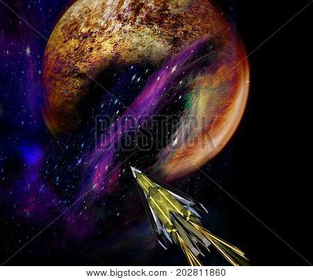 Spaceship approaching an unknown planet. Space shuttle pointing to the red cracked planet. 3d illustration
