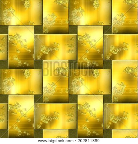Seamless metal pattern with intertwined bars. Gold and brown scratched background of brushed metal. 3d rendering