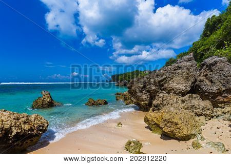 Impossible Beach in Bali Indonesia - nature vacation background
