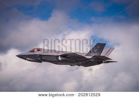 Demonstration of a Lockheed Martin F-35 Lightning II on July 10, 2016 at the Royal International Air Tattoo at RAF Fairford, England UK