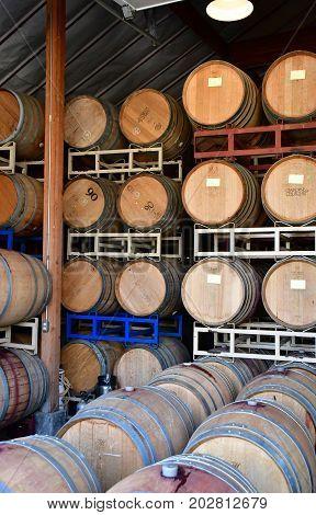 America; San Luis Obispo; USA - july 15 2016 : barrel in the cellar of the Claiborne and Churchill winery