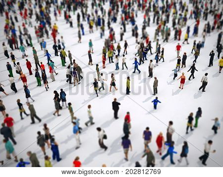 Tilt shift focus effect on a large group of people on white background. 3D Rendering