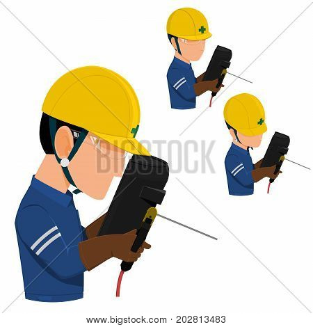 set of welder with personal protective equipment on transparent background