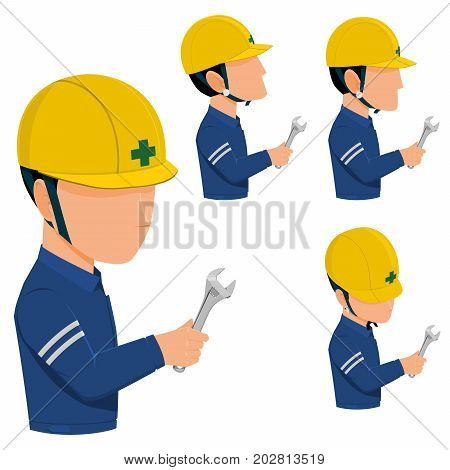 set of worker is holding the spanner on transparent background