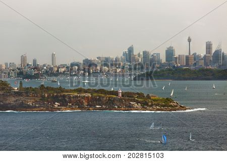 Sydney skyline viewed from the harbor entrance