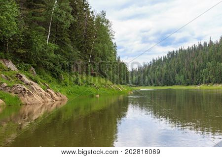 A small tributaries of the Yenisei River. Krasnoyarsk region, Russia