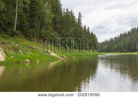 A small tributary of the Yenisei River. Krasnoyarsk region, Russia