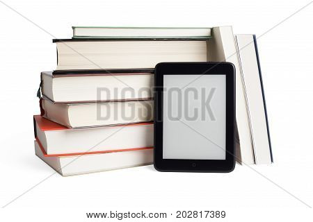 Stacked Books And Ebook Device With Blank Screen