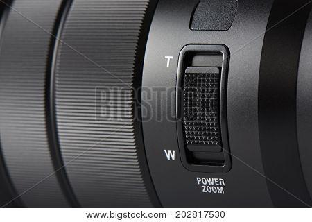 Closeup Of Zoom Button On A Digital Camera Lens