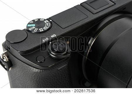 Closeup Of Mode Dial And Shutter Button On A Mirrorless Camera
