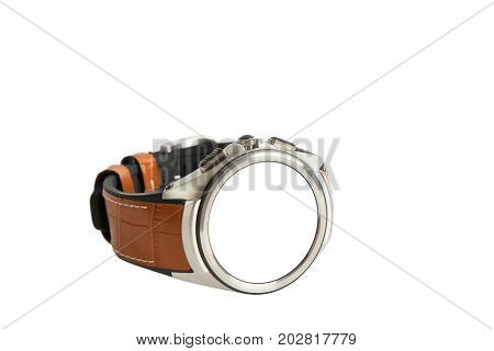 Wrist Smart Watch With Leather Strap, Isolated On White