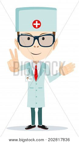 funny cartoon illustration of a friendly doctor. Stock vector illustration for poster, greeting card, website, ad, business presentation, advertisement design.
