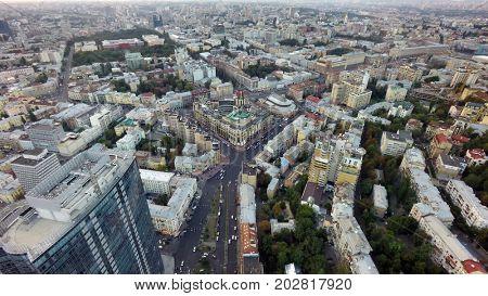 aerial view of Kiev, Khreshchatyk street, Bessarabian market at summer