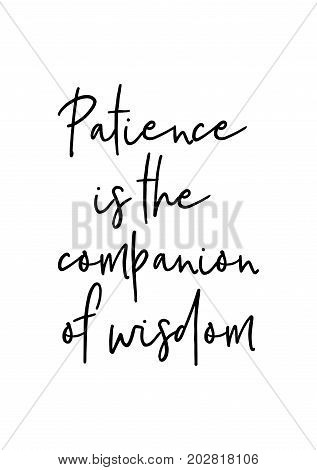 Hand drawn lettering. Ink illustration. Modern brush calligraphy. Isolated on white background. Patience is the companion of wisdom. poster