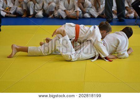 Orenburg, Russia - 05 November 2016: Boys Compete In Judo