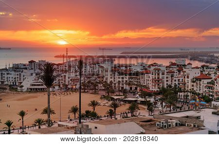 Marina In Agadir City At Sunset, Morocco