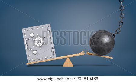 3d rendering of a large vintage safe box stands at a wooden seesaw overweighing a wrecking ball that breaks the plank. Money saving and investment. Personal finance. Banking risks.
