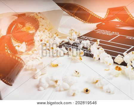 The Film In The Spiral, Near The Popcorn, Copy Space For Text, Fashion Highlights In The Photo, Conc