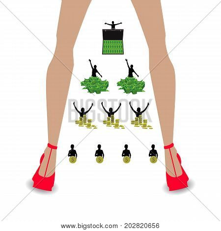 financial pyramid concept. business mlm. network marketing. from a coin to a case with money. women's legs in red shoes