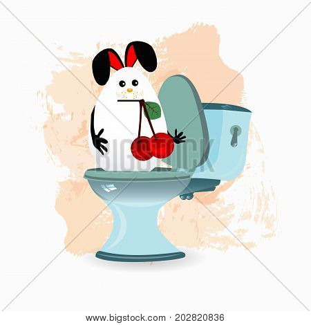 constipation, diarrhea and abdominal pain concept. malnutrition. diet. funny comic rabbit on the toilet ceramic. with a cherry in the teeth