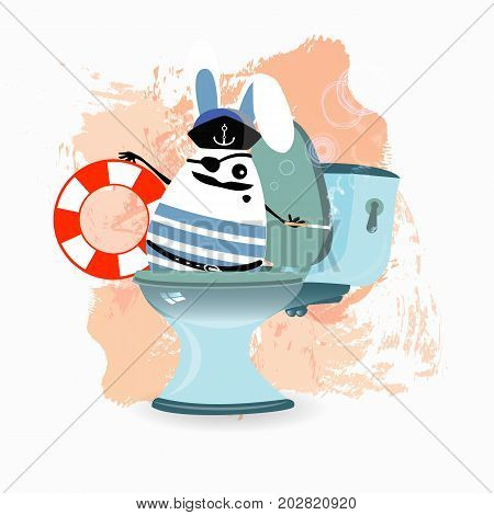 constipation, diarrhea and abdominal pain. concept.breathing of the stomach and gases. malnutrition. diet. funny comic rabbit on the toilet ceramic. captain with a lifebuoy