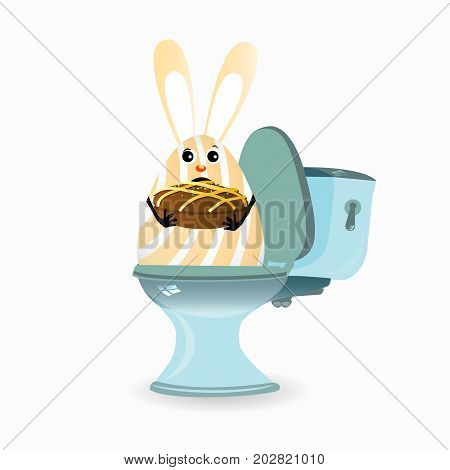 constipation, diarrhea and abdominal pain. concept.breathing of the stomach and gases. malnutrition. diet. funny comic rabbit on the toilet ceramic. funny rabbit with chocolate cake