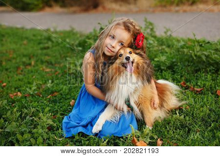 Cute little girl with a dog Sheltie breed. Best friends forever. Dog devotion. Girl hugging a pet darling in the park