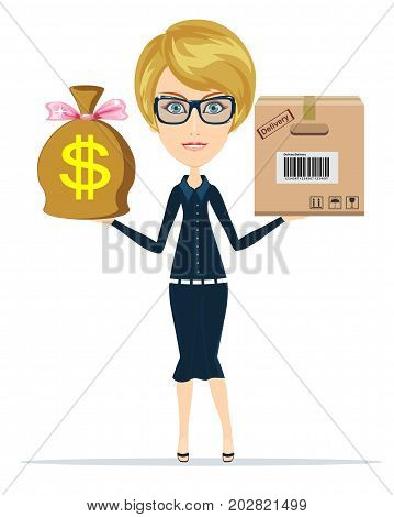 delivery concept.Time is money. Time management concept. woman holding a box and money. Stock flat vector illustration.