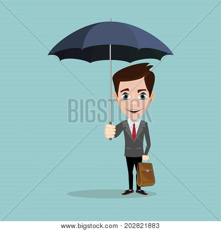 Business Man with an umbrella. Stock flat vector illustration.