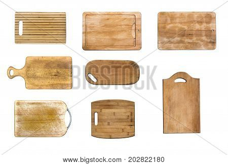 Set of Cutting boards top view. Chopping boards collection.