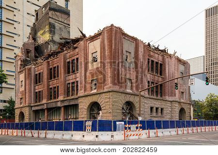 Old brick building being demolished for redevelopment in downtown Portland Oregon
