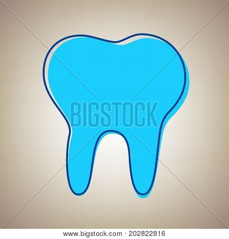 Tooth sign illustration. Vector. Sky blue icon with defected blue contour on beige background.
