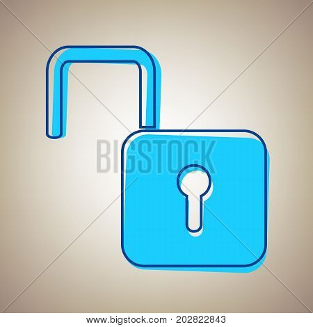 Unlock sign illustration. Vector. Sky blue icon with defected blue contour on beige background.