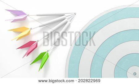 Four darts with dartboard on white table 3d render Business concept