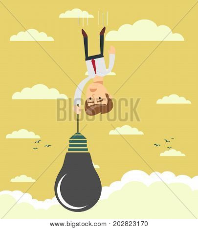 Sad businessman falling holding idea bulb as balloon . Stock flat vector illustration.