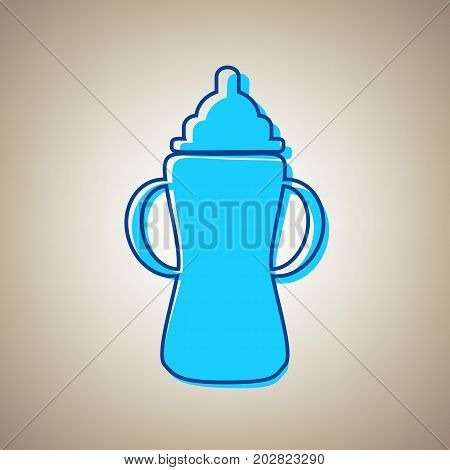 Baby bottle sign. Vector. Sky blue icon with defected blue contour on beige background.