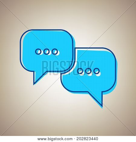 Speech bubbles sign. Vector. Sky blue icon with defected blue contour on beige background.