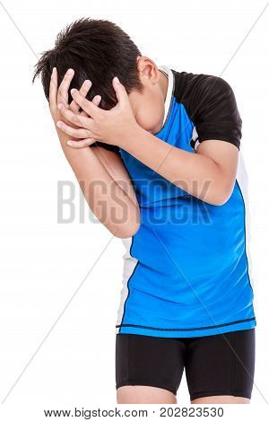 Asian Young Cyclist Have A Headache. Isolated On White Background.