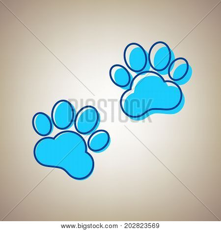 Animal Tracks sign. Vector. Sky blue icon with defected blue contour on beige background.
