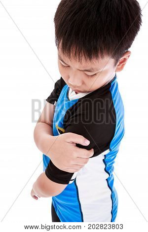 Sports Injure. Asian Child Injured At Shoulder. Isolated On White Background.