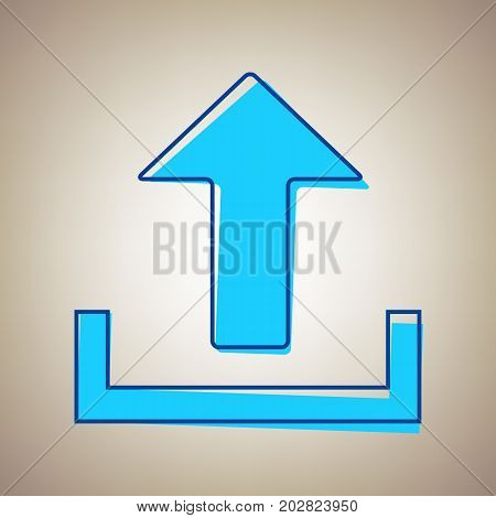 Upload sign illustration. Vector. Sky blue icon with defected blue contour on beige background.