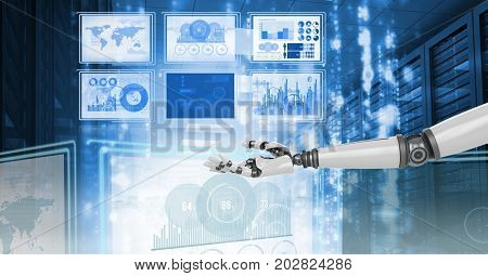 Digital composite of Robot hand interacting with technology interface panels