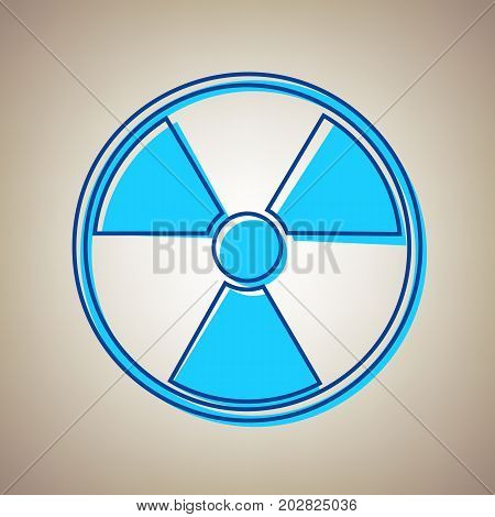 Radiation Round sign. Vector. Sky blue icon with defected blue contour on beige background.