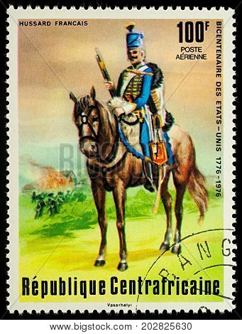 Moscow Russia - September 05 2017: A stamp printed in Central African Empire shows French Hussar series