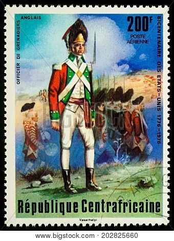 Moscow Russia - September 05 2017: A stamp printed in Central African Empire shows English Grenadier Officer series