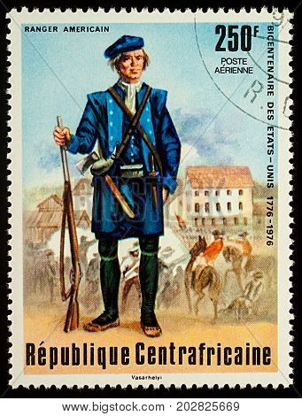 Moscow Russia - September 05 2017: A stamp printed in Central African Empire shows Ranger American series