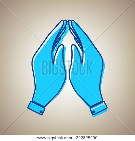Hand icon illustration. Prayer symbol. Vector. Sky blue icon with defected blue contour on beige background.