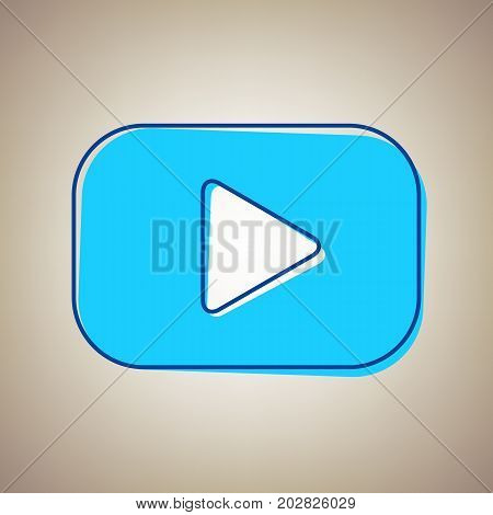 Play button sign. Vector. Sky blue icon with defected blue contour on beige background.